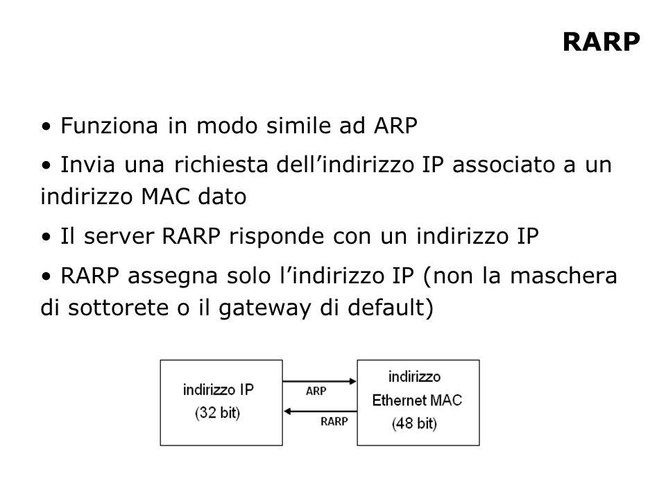 RARP Funziona in modo simile ad ARP