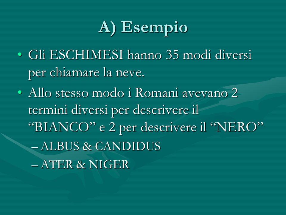 A) Esempio Gli ESCHIMESI hanno 35 modi diversi per chiamare la neve.