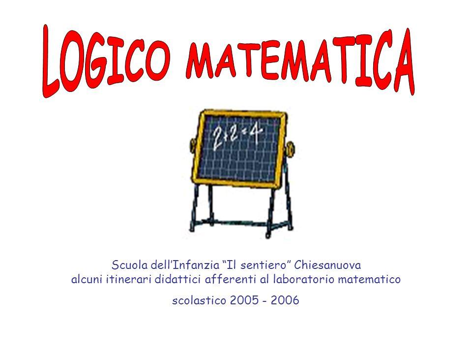 LOGICO MATEMATICA Scuola dell'Infanzia Il sentiero Chiesanuova alcuni itinerari didattici afferenti al laboratorio matematico.