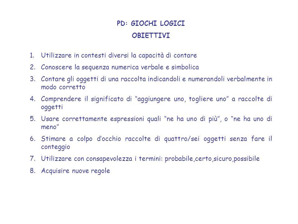 PD: GIOCHI LOGICI OBIETTIVI. Utilizzare in contesti diversi la capacità di contare. Conoscere la sequenza numerica verbale e simbolica.