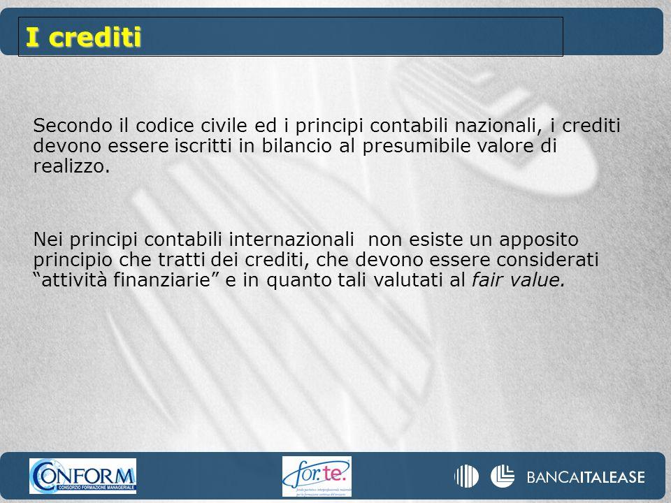 I crediti Secondo il codice civile ed i principi contabili nazionali, i crediti devono essere iscritti in bilancio al presumibile valore di realizzo.