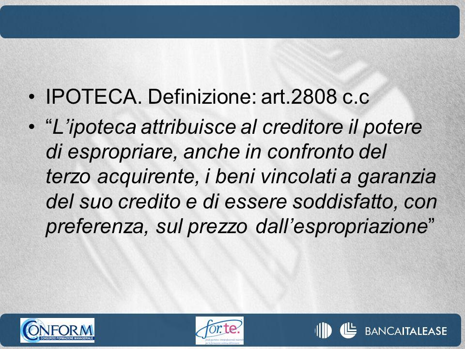 IPOTECA. Definizione: art.2808 c.c