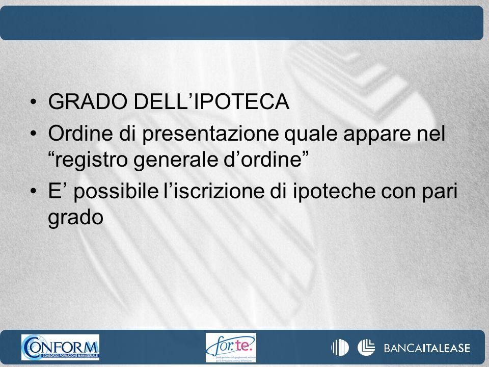 GRADO DELL'IPOTECA Ordine di presentazione quale appare nel registro generale d'ordine E' possibile l'iscrizione di ipoteche con pari grado.