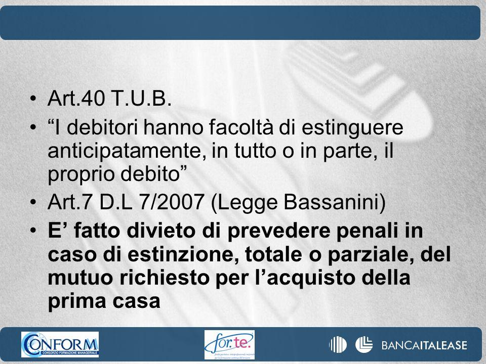 Art.40 T.U.B. I debitori hanno facoltà di estinguere anticipatamente, in tutto o in parte, il proprio debito