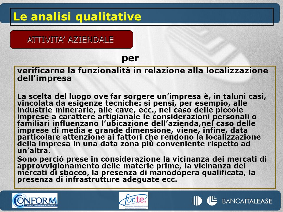 Le analisi qualitative