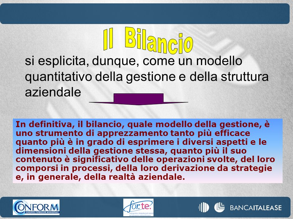 Il Bilancio si esplicita, dunque, come un modello quantitativo della gestione e della struttura aziendale.