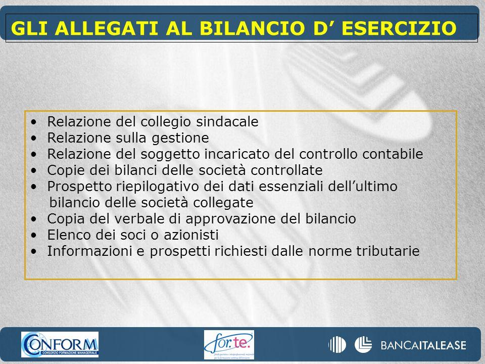 GLI ALLEGATI AL BILANCIO D' ESERCIZIO