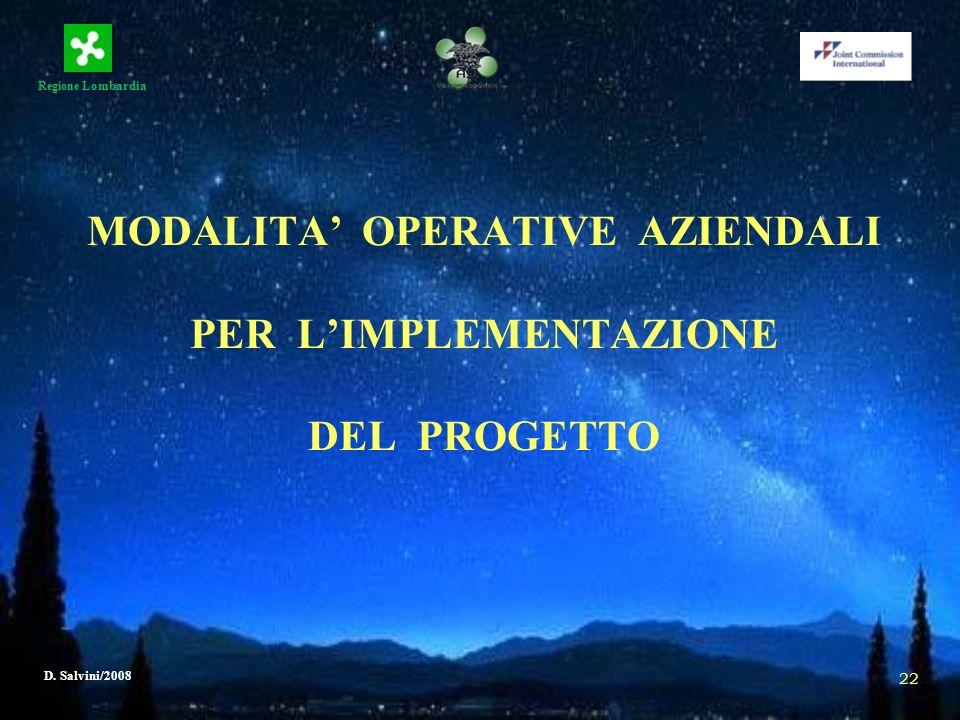 MODALITA' OPERATIVE AZIENDALI PER L'IMPLEMENTAZIONE DEL PROGETTO