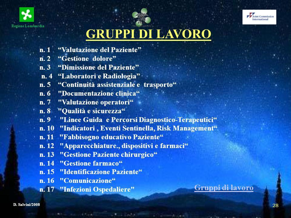 GRUPPI DI LAVORO Gruppi di lavoro n. 1 Valutazione del Paziente