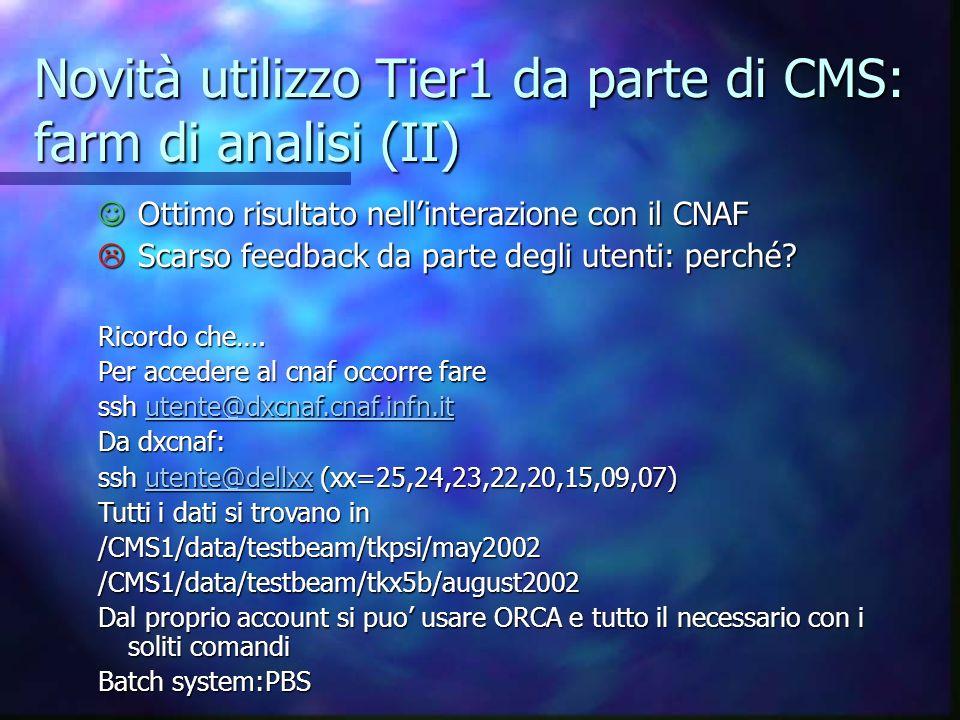 Novità utilizzo Tier1 da parte di CMS: farm di analisi (II)