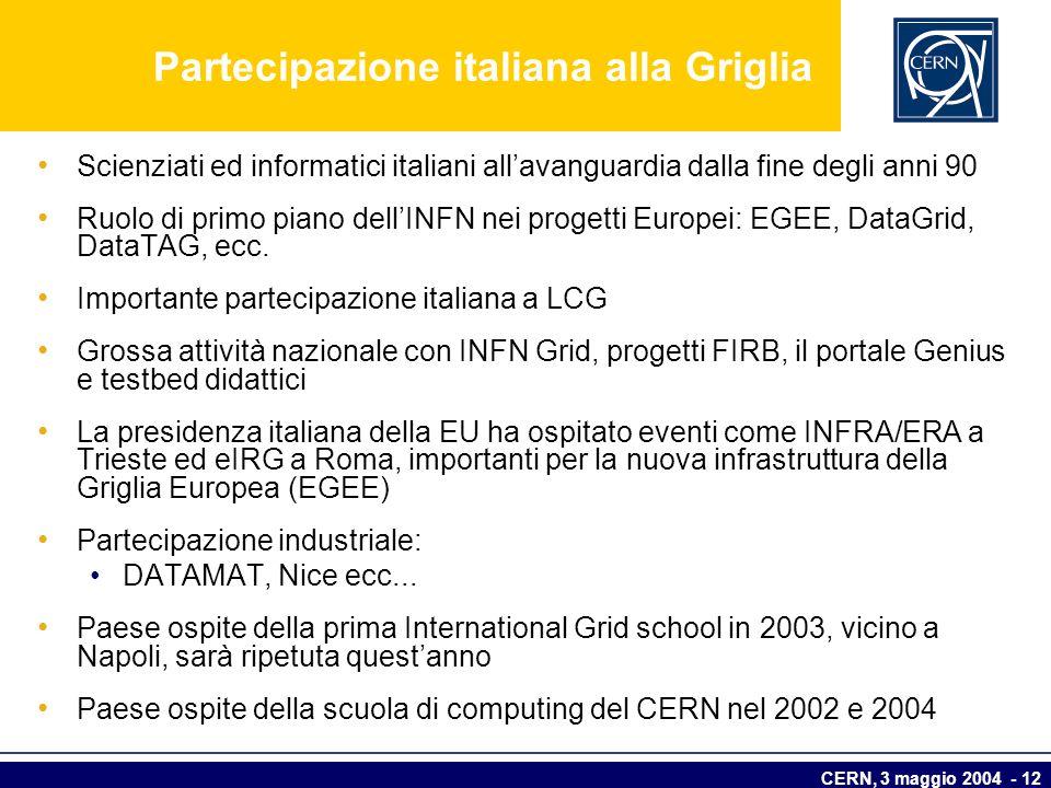 Partecipazione italiana alla Griglia