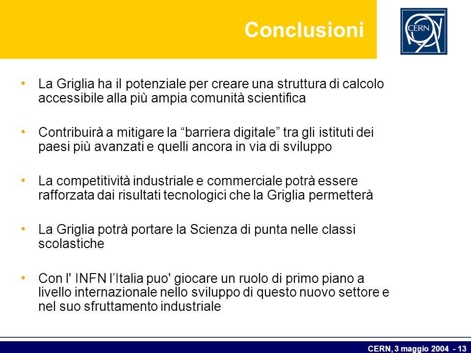 Conclusioni La Griglia ha il potenziale per creare una struttura di calcolo accessibile alla più ampia comunità scientifica.