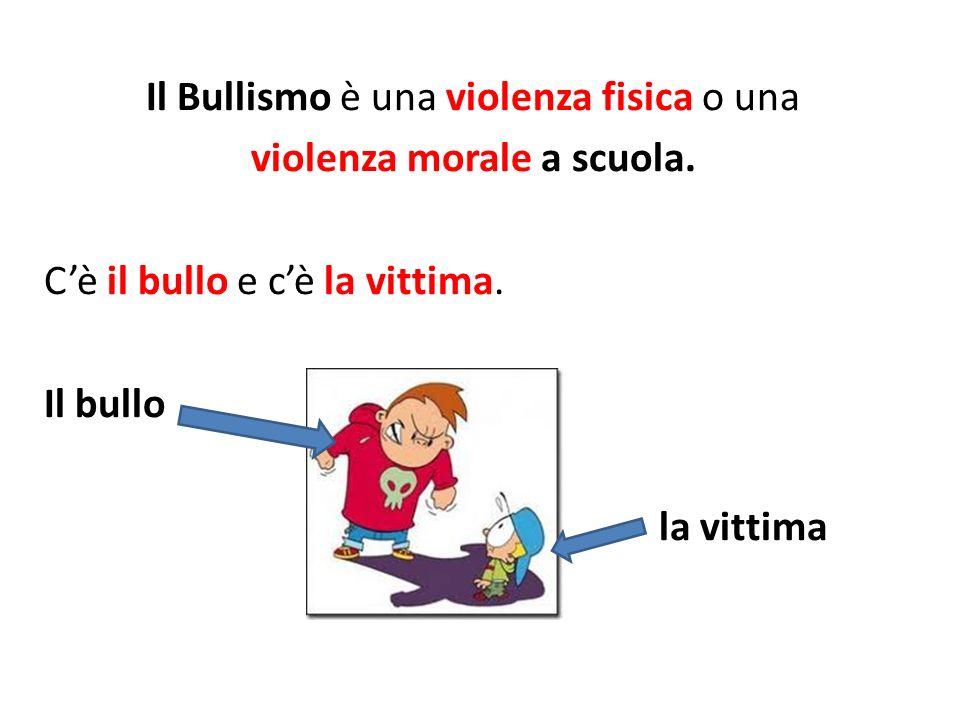 Il Bullismo è una violenza fisica o una violenza morale a scuola