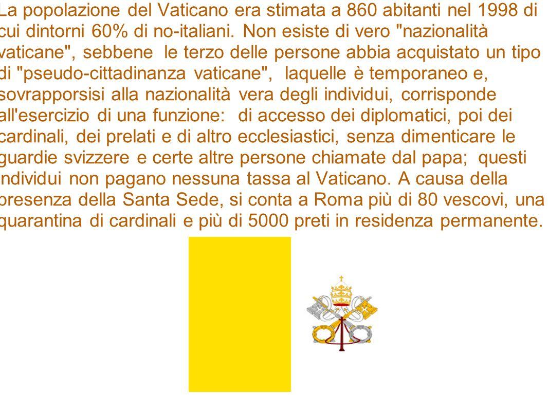 La popolazione del Vaticano era stimata a 860 abitanti nel 1998 di cui dintorni 60% di no-italiani.