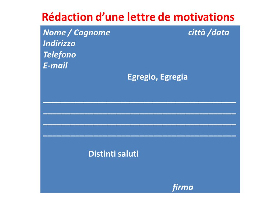 Rédaction d'une lettre de motivations