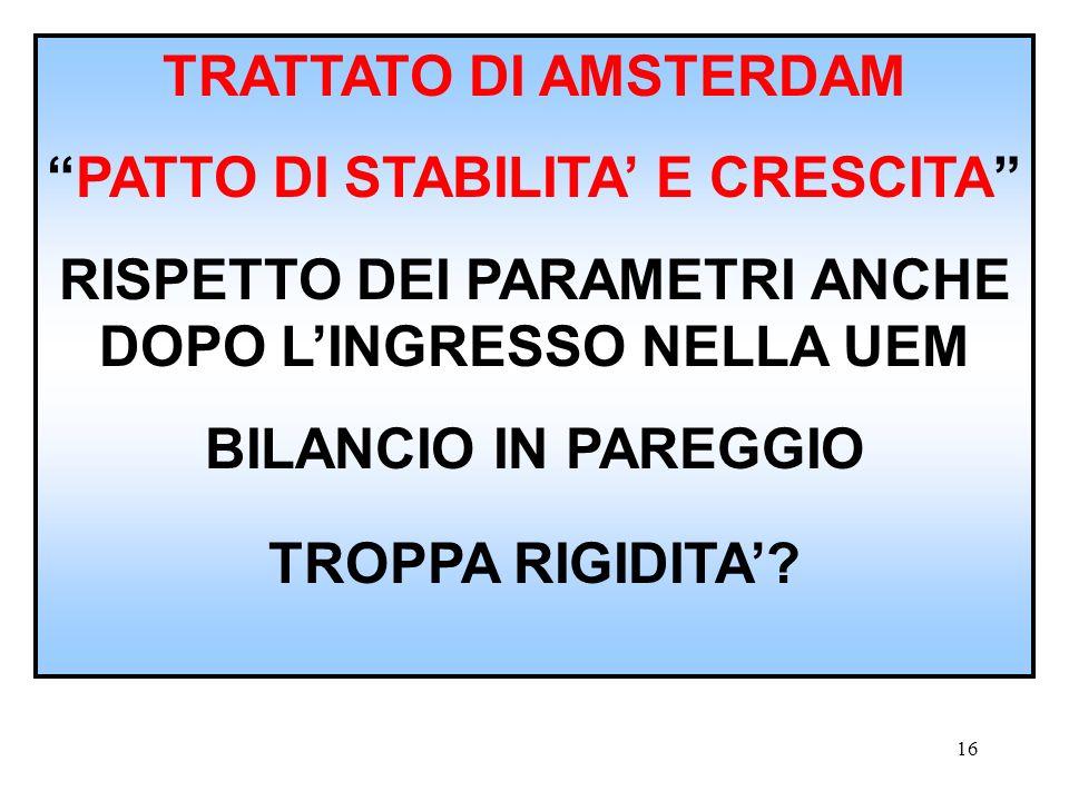 PATTO DI STABILITA' E CRESCITA