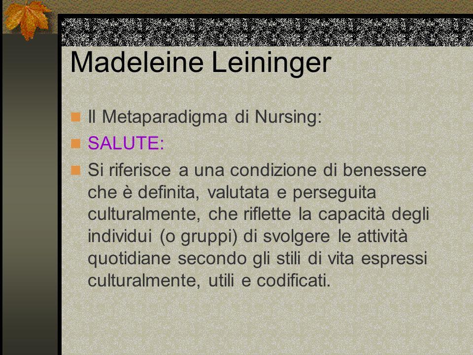 Madeleine Leininger Il Metaparadigma di Nursing: SALUTE: