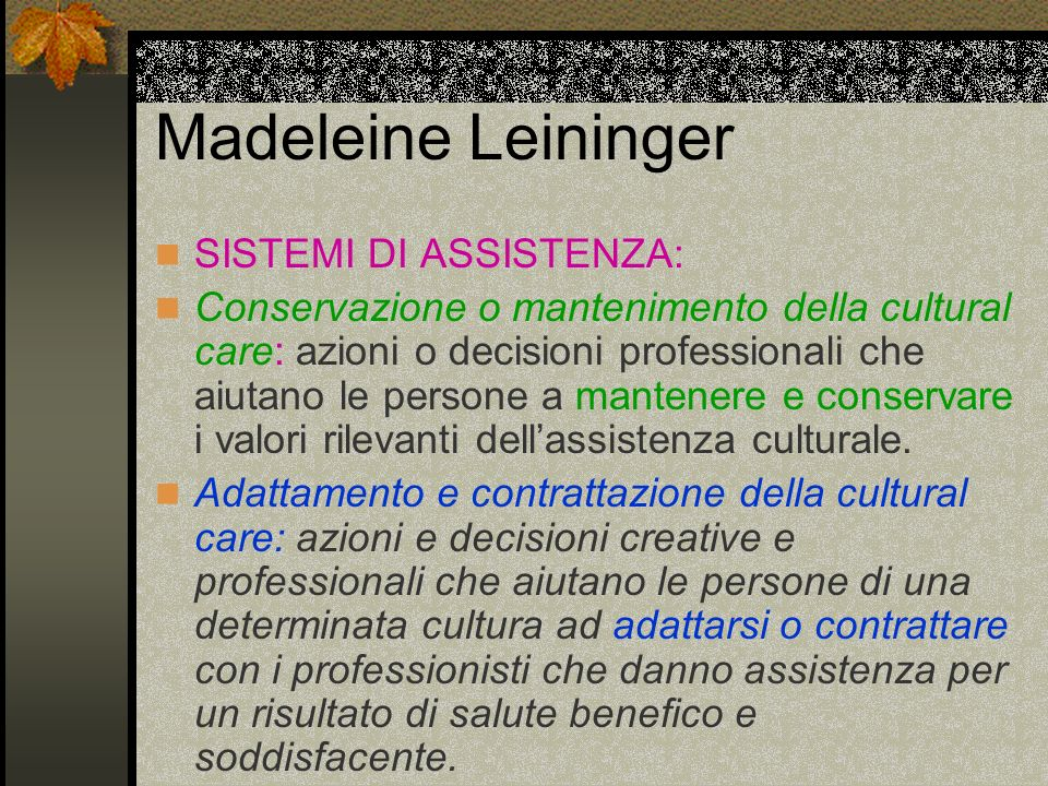 Madeleine Leininger SISTEMI DI ASSISTENZA: