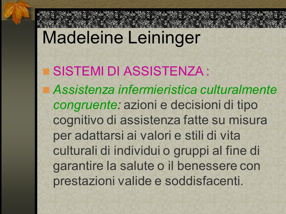 Madeleine Leininger SISTEMI DI ASSISTENZA :