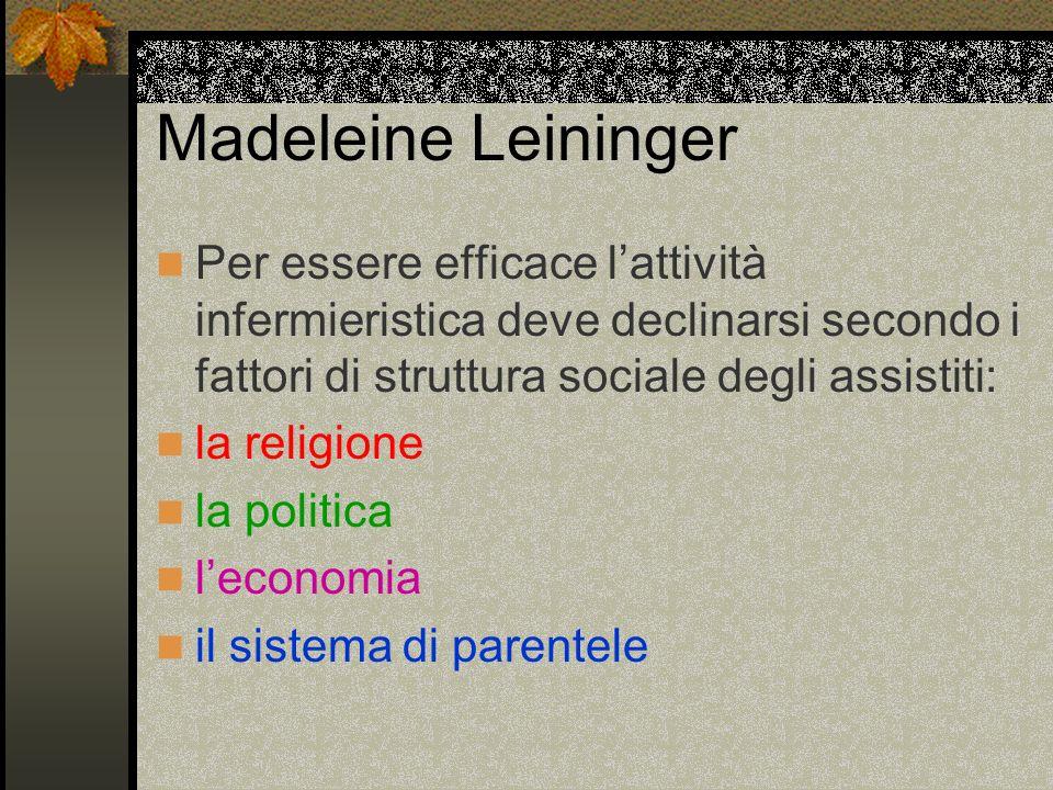 Madeleine Leininger Per essere efficace l'attività infermieristica deve declinarsi secondo i fattori di struttura sociale degli assistiti: