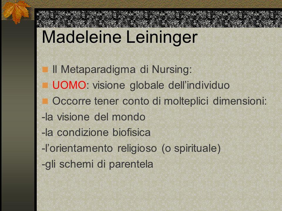 Madeleine Leininger Il Metaparadigma di Nursing: