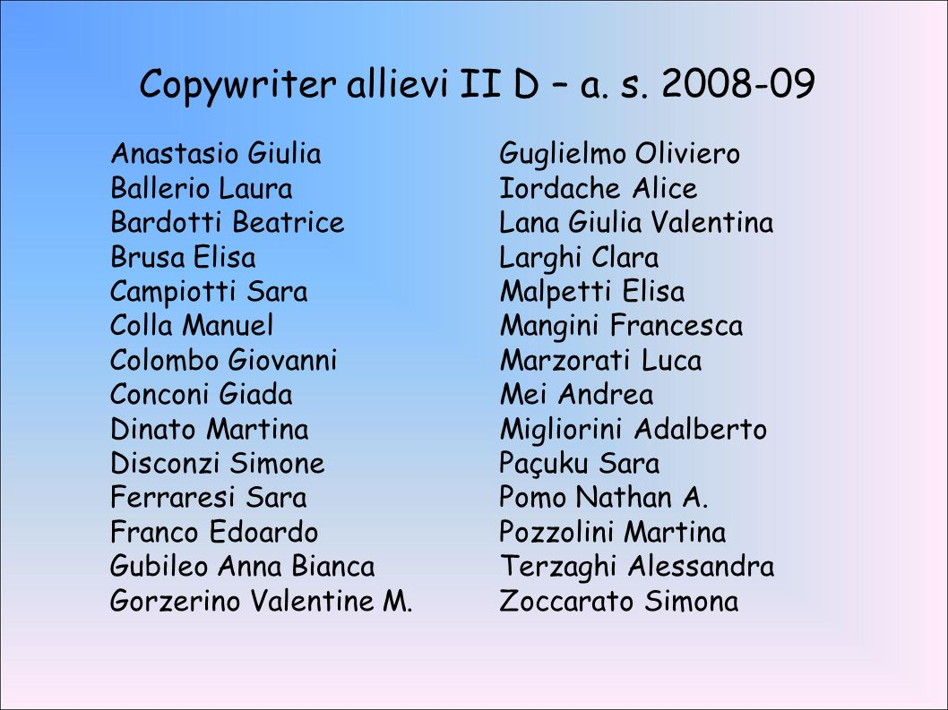 Copywriter allievi II D – a. s. 2008-09