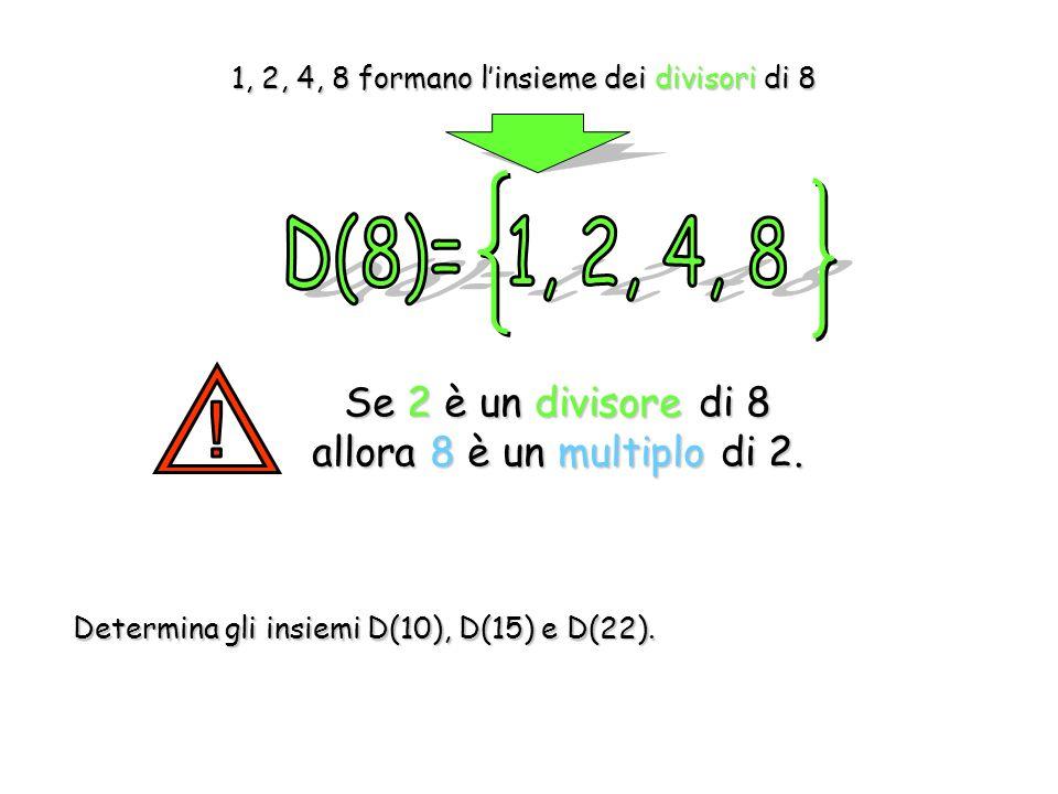 Se 2 è un divisore di 8 allora 8 è un multiplo di 2.