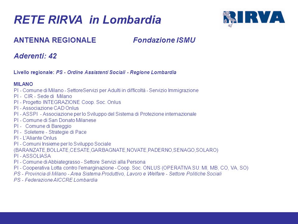 RETE RIRVA in Lombardia