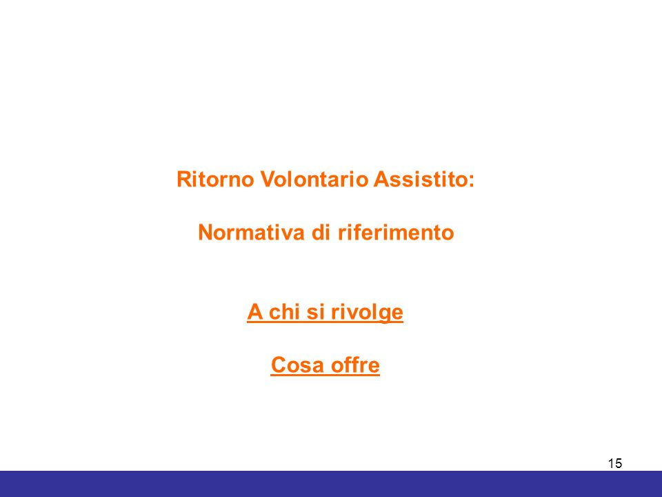 Ritorno Volontario Assistito: Normativa di riferimento