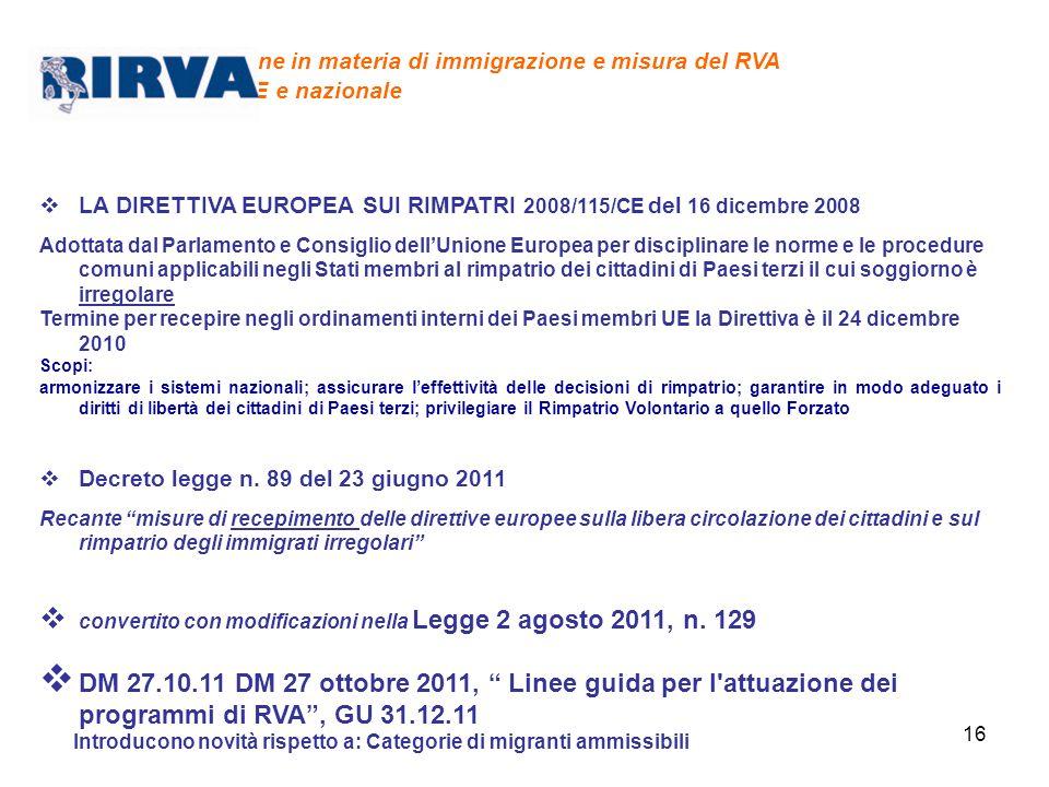 Legislazione in materia di immigrazione e misura del RVA