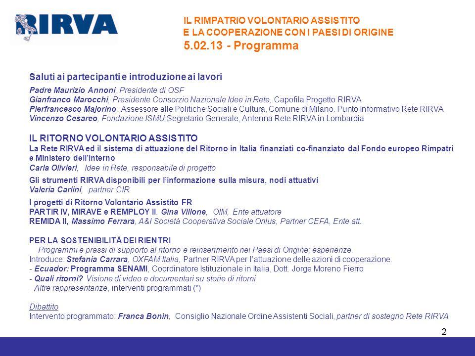 IL RIMPATRIO VOLONTARIO ASSISTITO 5.02.13 - Programma