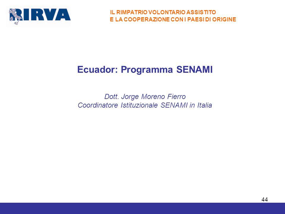 Ecuador: Programma SENAMI