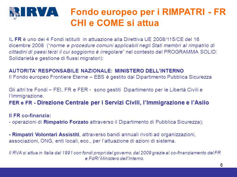 Fondo europeo per i RIMPATRI - FR CHI e COME si attua