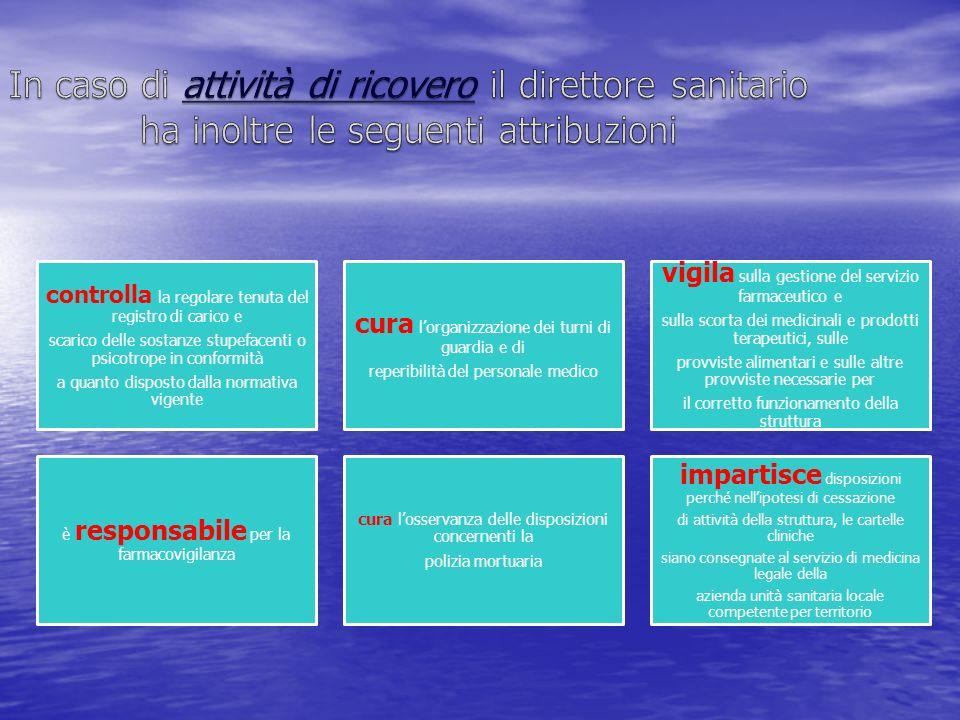 In caso di attività di ricovero il direttore sanitario ha inoltre le seguenti attribuzioni