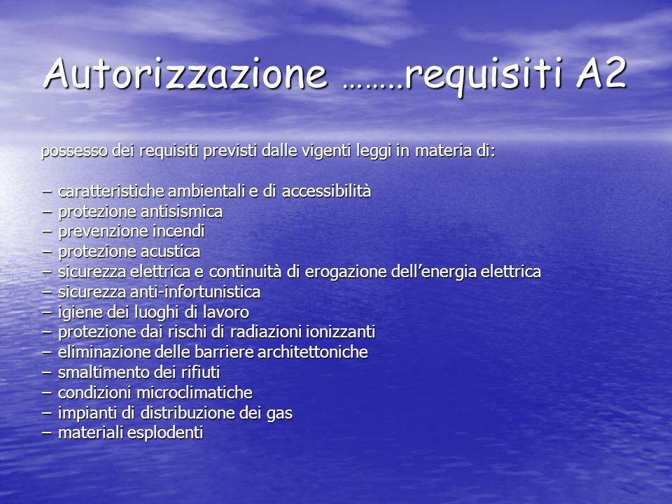 Autorizzazione ……..requisiti A2