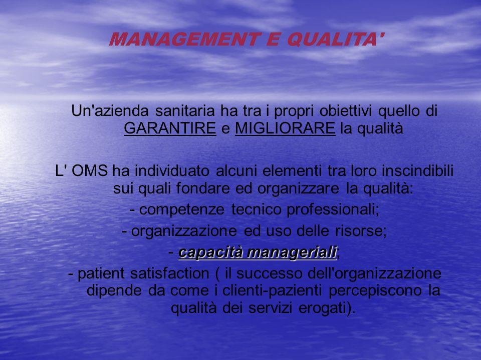 MANAGEMENT E QUALITA Un azienda sanitaria ha tra i propri obiettivi quello di GARANTIRE e MIGLIORARE la qualità.