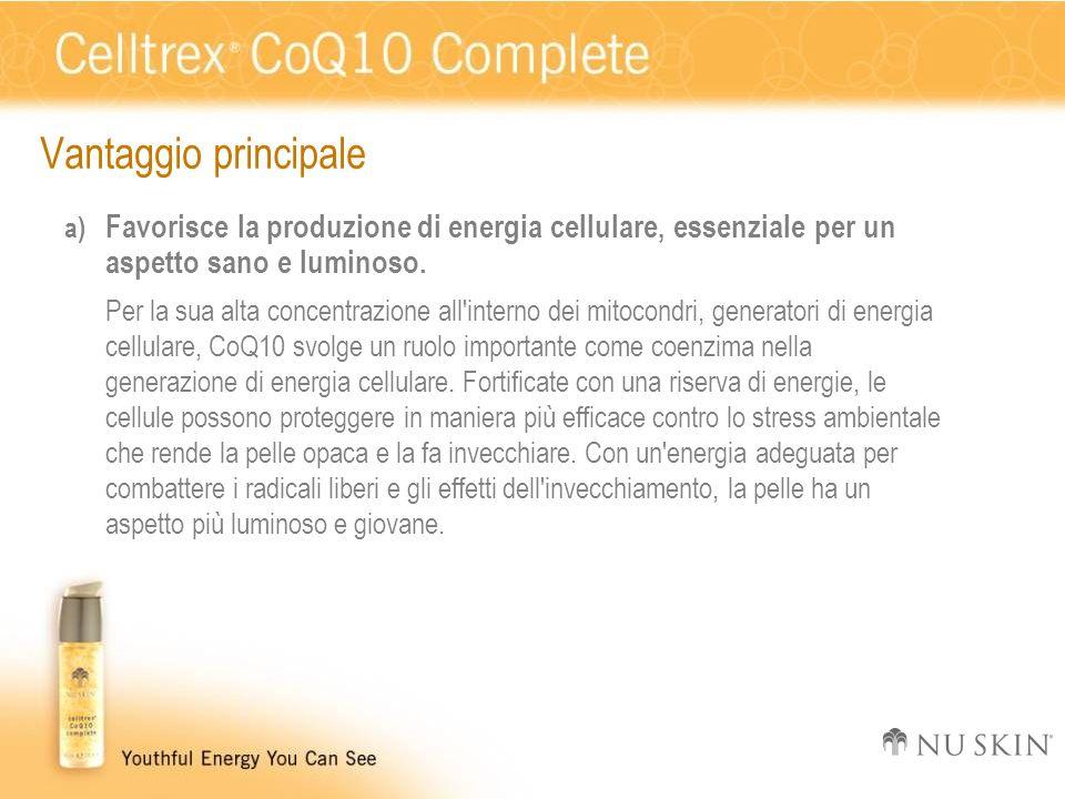 Vantaggio principale Favorisce la produzione di energia cellulare, essenziale per un aspetto sano e luminoso.
