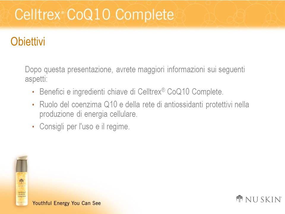 Obiettivi Dopo questa presentazione, avrete maggiori informazioni sui seguenti aspetti: Benefici e ingredienti chiave di Celltrex® CoQ10 Complete.