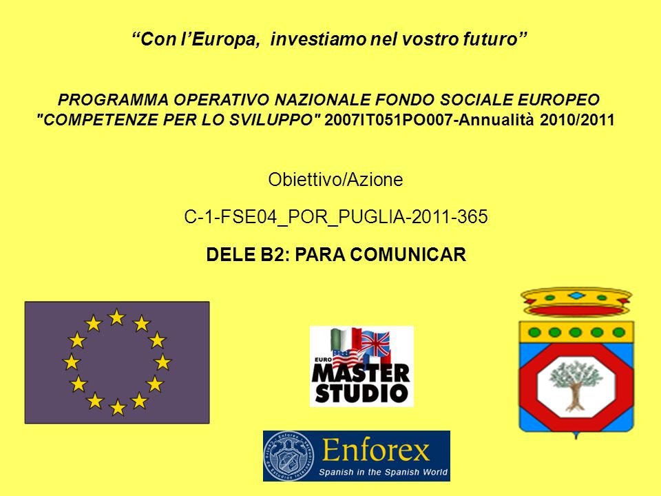 PROGRAMMA OPERATIVO NAZIONALE FONDO SOCIALE EUROPEO