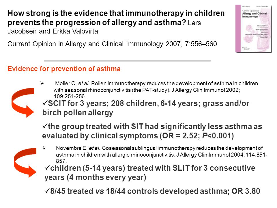 8/45 treated vs 18/44 controls developed asthma; OR 3.80