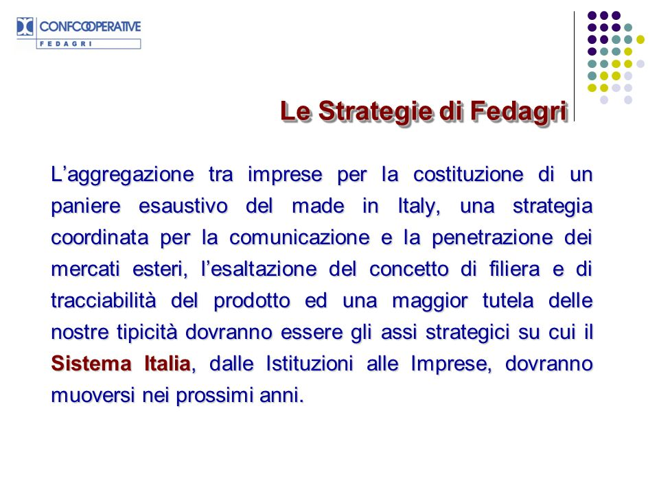 Le Strategie di Fedagri