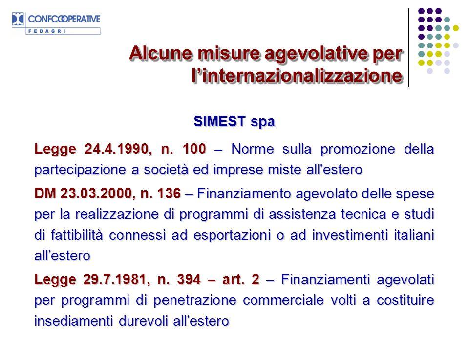 Alcune misure agevolative per l'internazionalizzazione