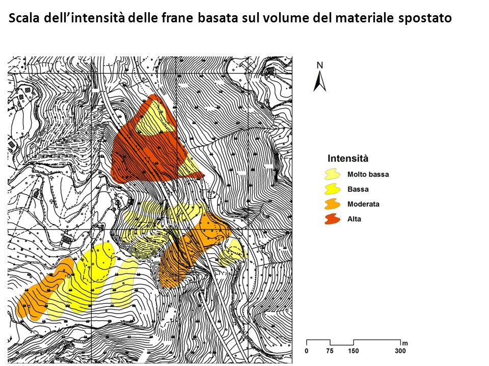 Scala dell'intensità delle frane basata sul volume del materiale spostato