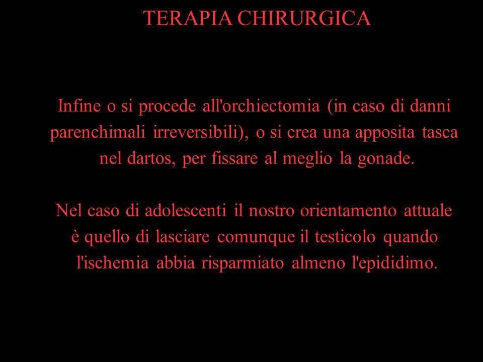 TERAPIA CHIRURGICAInfine o si procede all orchiectomia (in caso di danni. parenchimali irreversibili), o si crea una apposita tasca.