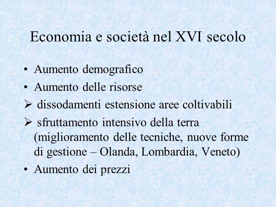 Economia e società nel XVI secolo