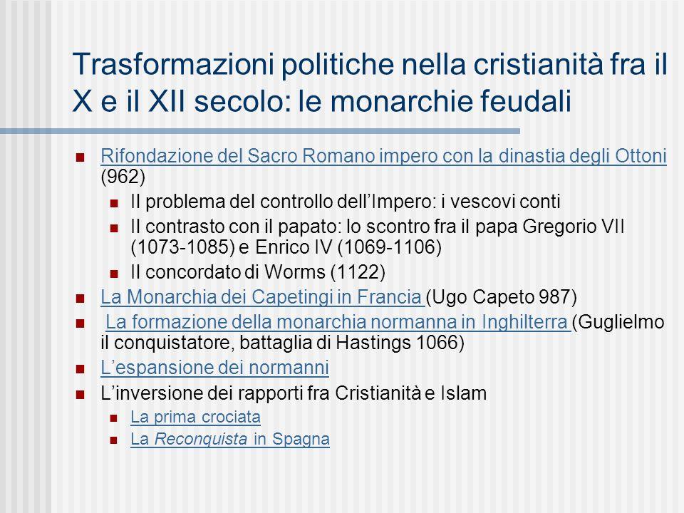 Trasformazioni politiche nella cristianità fra il X e il XII secolo: le monarchie feudali
