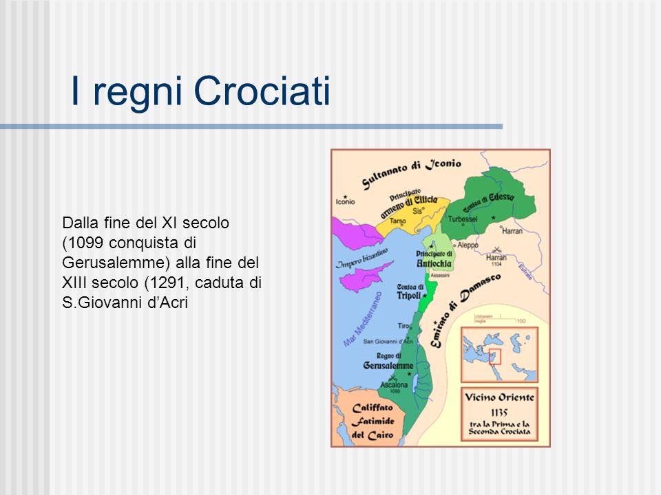 I regni Crociati Dalla fine del XI secolo (1099 conquista di Gerusalemme) alla fine del XIII secolo (1291, caduta di S.Giovanni d'Acri.