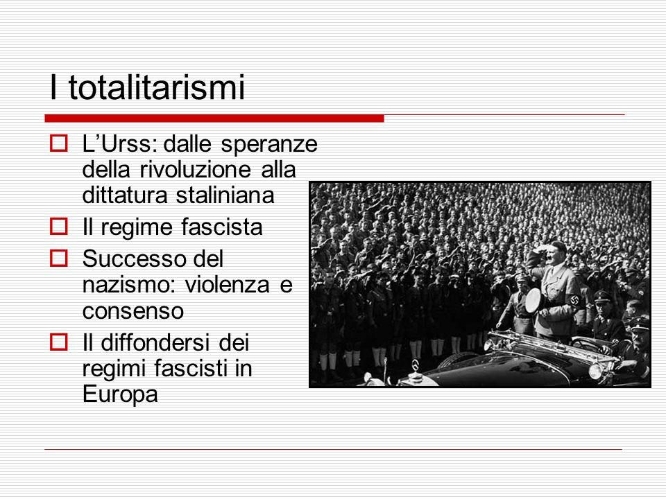 I totalitarismi L'Urss: dalle speranze della rivoluzione alla dittatura staliniana. Il regime fascista.