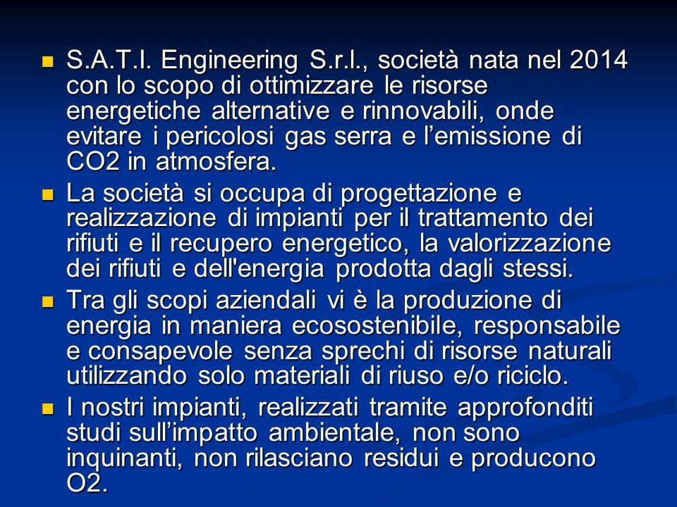 S.A.T.I. Engineering S.r.l., società nata nel 2014 con lo scopo di ottimizzare le risorse energetiche alternative e rinnovabili, onde evitare i pericolosi gas serra e l'emissione di CO2 in atmosfera.