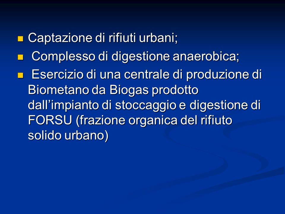 Captazione di rifiuti urbani;